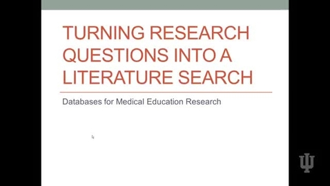 Thumbnail for entry Video 4 Databases for Medical Education Research