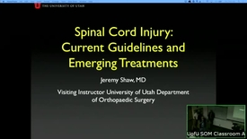 Thumbnail for entry 6/21/18 Spinal Cord Injury: Current Guidelines and Emerging Treatment