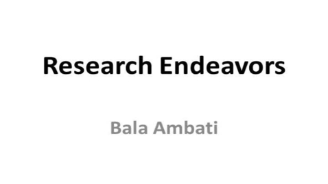 Thumbnail for entry Research Endeavors-Dr. Ambati