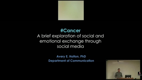 Thumbnail for entry #Cancer: A brief exploration of social and emotional exchange through social media