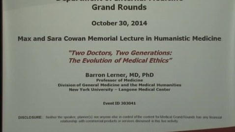 Thumbnail for entry Two Doctors, Two Generations: The evolution of medical ethics