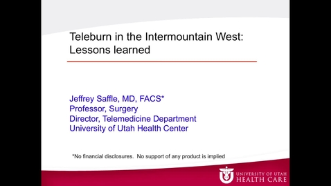 Thumbnail for entry Jeffrey Saffle, MD, FACS