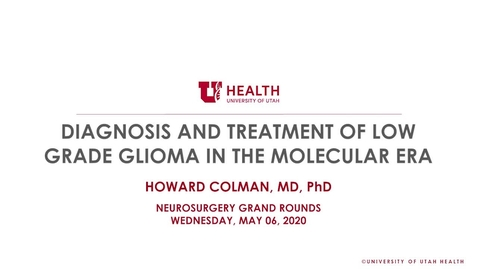 Thumbnail for entry Diagnosis and Treatment of Low Grade Glioma in the Molecular Era