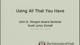 Thumbnail for entry Extending the Fellegi-Sunter Probabilistic Record Linkage Method for Approximate Field Comparators   Scott L. DuVall, PhD candidate in the Department of Biomedical Informatics and winner of this year's John D. Morgan Award   2009-10-22