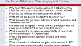 Thumbnail for entry Major Translational Questions We Are Working on at the Center for Alzheimer's Care, Imaging & Research