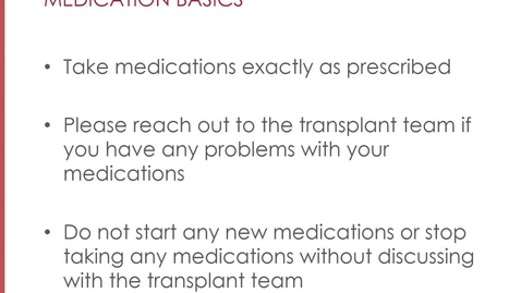 Thumbnail for entry Overview of Transplant Medications