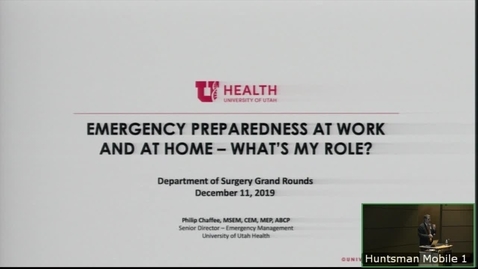 Thumbnail for entry 12/11/19 Emergency Preparedness at Work and at Home.  What's My Role?