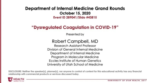 Thumbnail for entry Dysregulated Coagulation in COVID-19