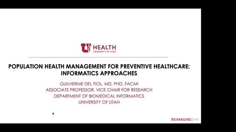 Thumbnail for entry Population Health Management for Preventive Healthcare: Informatics Approaches