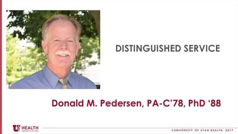 Thumbnail for entry Don Pedersen, PhD., PA-C., Dist. Service 2018