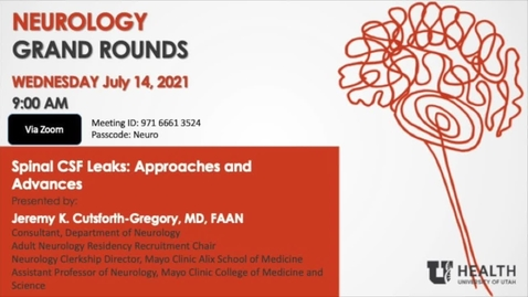 Thumbnail for entry Spinal CSF Leaks: Approaches and Advances