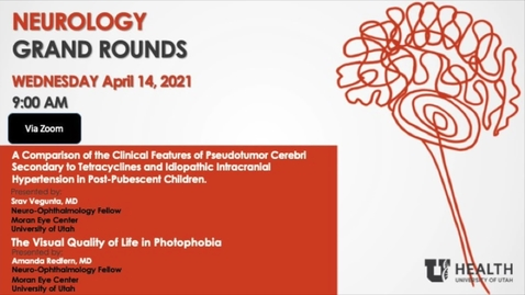 """Thumbnail for entry """"A Comparison of the Clinical Features of Pseudotumor Cerebri Secondary to Tetracyclines and Idiopathic Intracranial Hypertension in Post-Pubescent Children"""" &""""The Visual Quality of Life in Photophobia"""""""