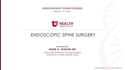 Thumbnail for entry Endoscopic Spine Surgery
