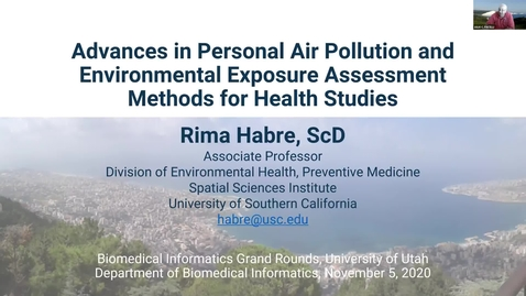 Thumbnail for entry Advances in Personal Air Pollution and Environmental Exposure Assessment Method for Health Studies
