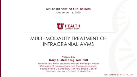 Thumbnail for entry Multi-modality Treatment of Intracranial AVMs