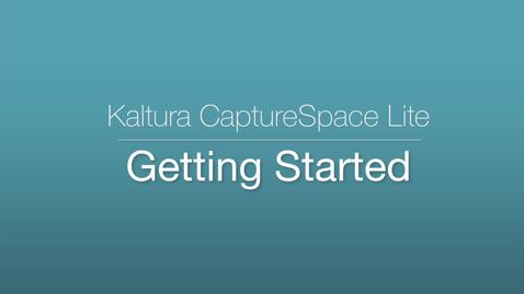 Thumbnail for entry 2. CaptureSpace Lite - Getting Started