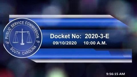 still of video titled 9/10/2020 - Docket No. 2020-3-E