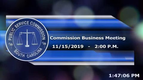 still of video titled 11/15/19 - Public Service Commission Business Meeting