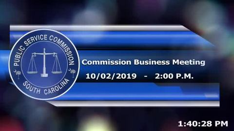 still of video titled 10/2/2019 - Public Service Commission Business Meeting