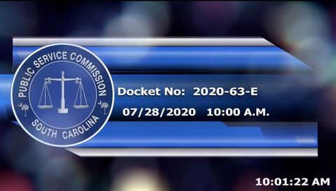 still of video titled 7/28/2020 - Docket No. 2020-63-E