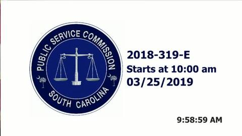 still of video titled 3/25/19 - 2018-319-E Hearing Public Service Commission