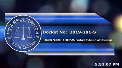 still of video titled 6/22/2020 - Docket No. 2019-281-S