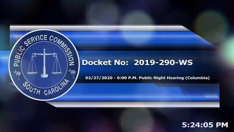 still of video titled 2/27/2020 - Docket No: 2019-290-WS (PART 3 - Public Night Hearing)