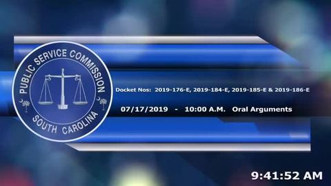 still of video titled 7/17/19 - 2019-184-E, 185-E and 186-E Public Service Commission Hearings