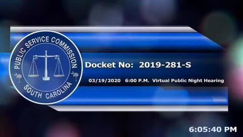 still of video titled 3/19/2020 - Docket No: 2019-281-S Virtual Hearing