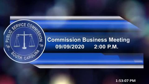 still of video titled 9/9/2020 - Commission Business Meeting / Docket No. 2020-153-T