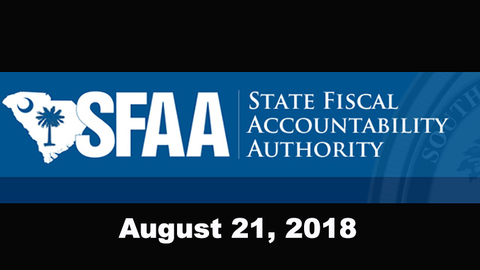 still of video titled S.C. State Fiscal Accountability Authority Meeting: August 21, 2018