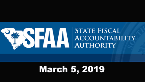 still of video titled S.C. State Fiscal Accountability Authority Meeting: March 5, 2019