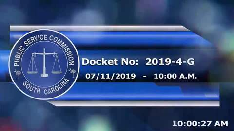 still of video titled 7/11/2019 - Dock No. 2019-4-G Public Service Commission