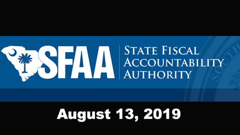 still of video titled S.C. State Fiscal Accountability Authority Meeting: August 13, 2019