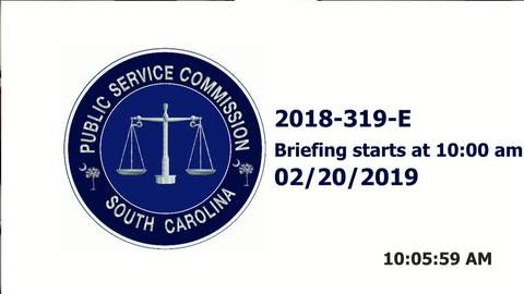 still of video titled 2/20/19 - 2018-319-E Public Service Commission Hearing
