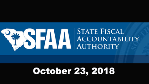 still of video titled S.C. State Fiscal Accountability Authority Meeting: October 23, 2018