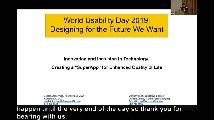 Thumbnail for channel World Usability Day 2019: Designing for the Future We Want