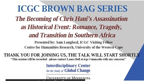 Thumbnail for entry ICGC Brown Bag Series: Samuel Longford