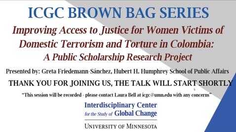 Thumbnail for entry ICGC Brown Bag Series: Greta Friedemann-Sánchez