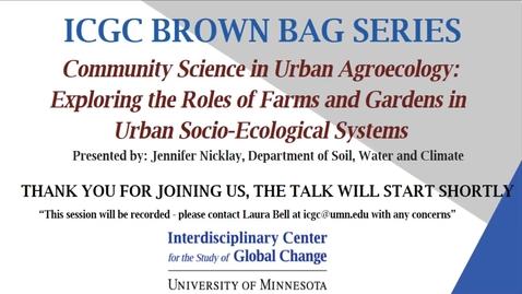 Thumbnail for entry ICGC Brown Bag Series: Jennifer Nicklay