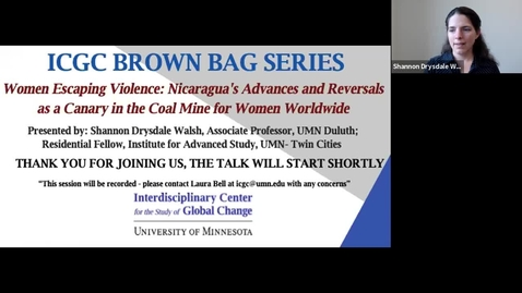 Thumbnail for entry ICGC Brown Bag Series: Shannon Drysdale Walsh