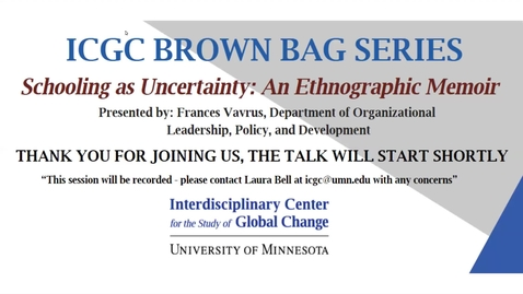 Thumbnail for entry ICGC Brown Bag Series: Frances Vavrus