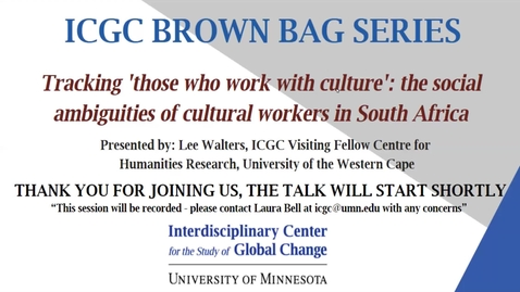 Thumbnail for entry ICGC Brown Bag Series: Lee Walters