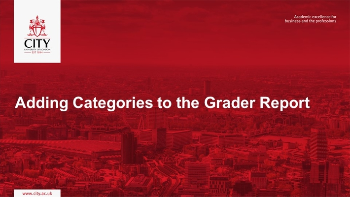 Grader Report: Adding Categories