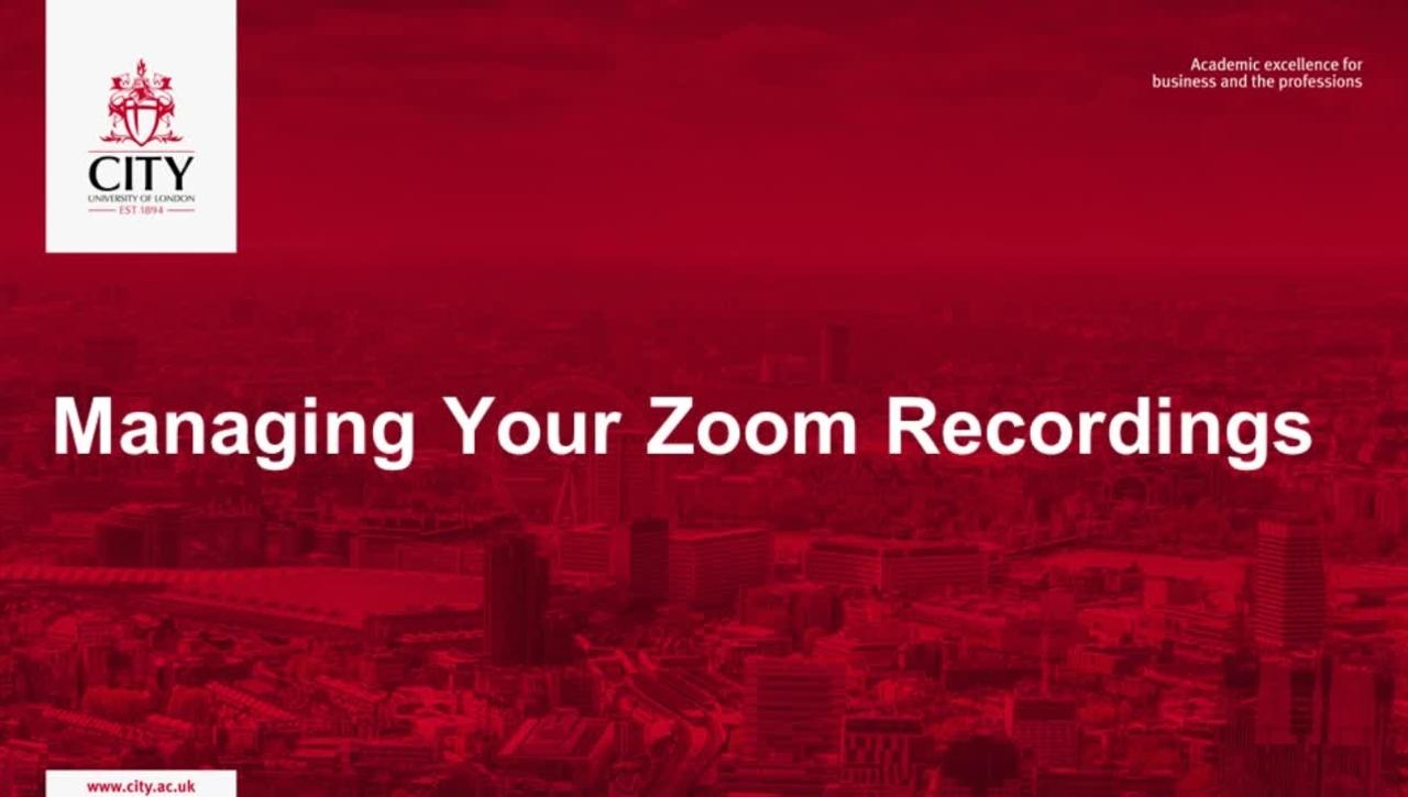Managing Zoom Recordings