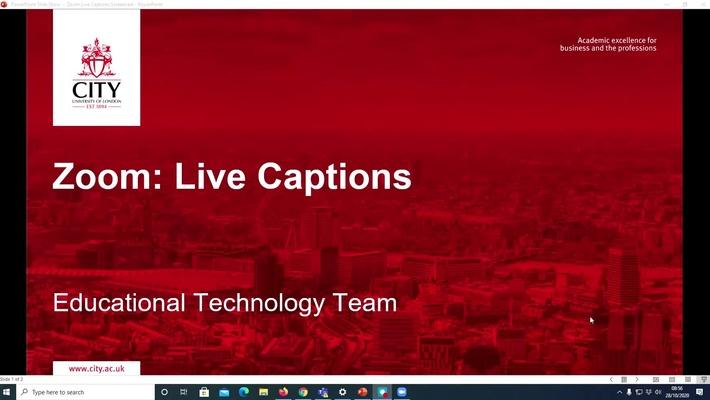 Zoom: Live Captions