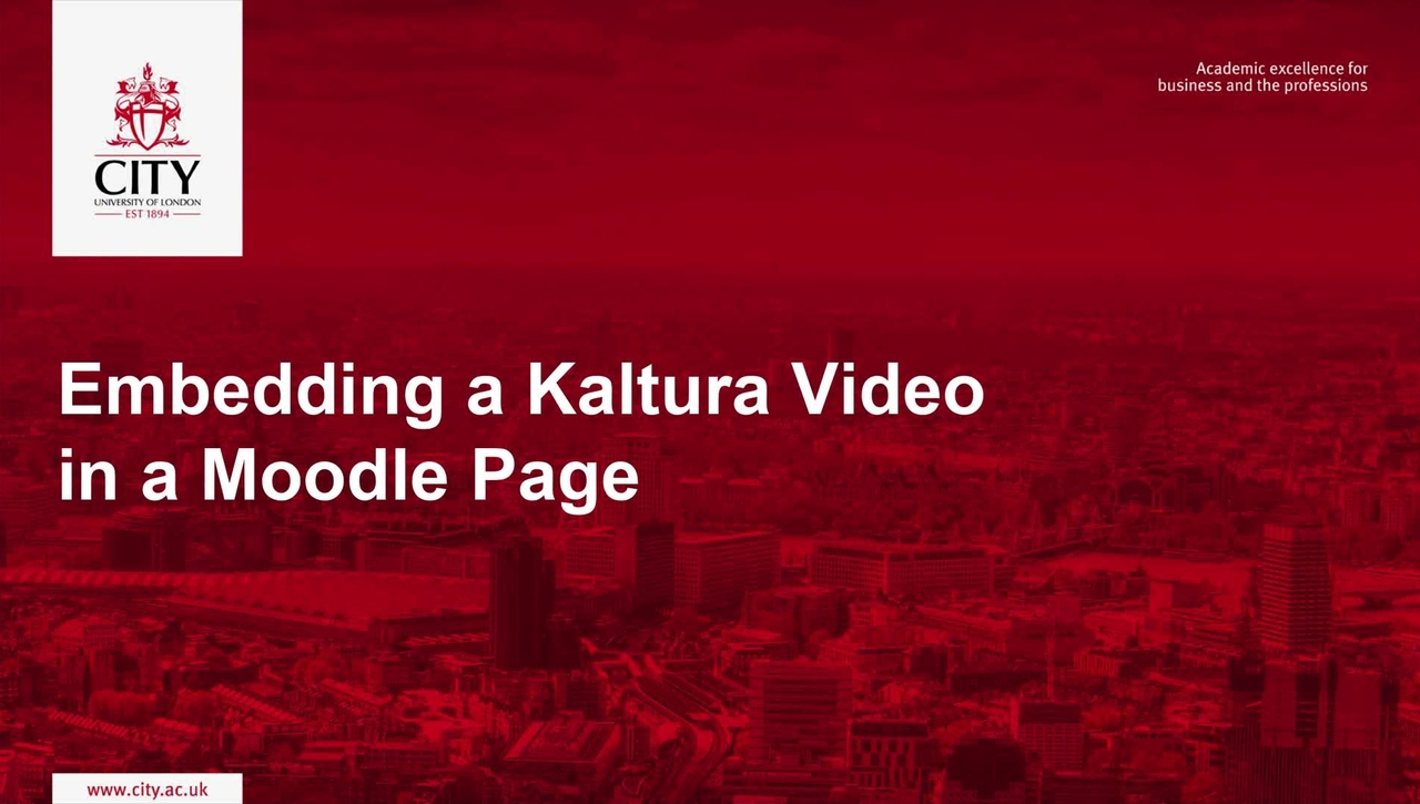 Embedding a Kaltura Video in a Moodle Page