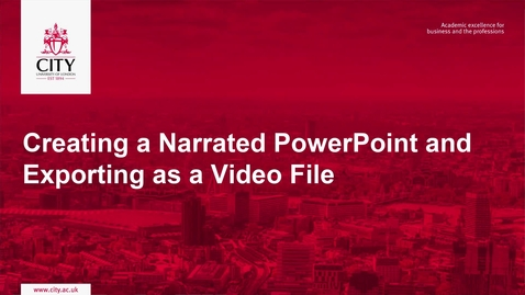 Thumbnail for entry Creating a Narrated PowerPoint & Exporting as a Video File (Windows / Office 365)